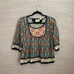 Anthro 3/4 Sleeve Blouse